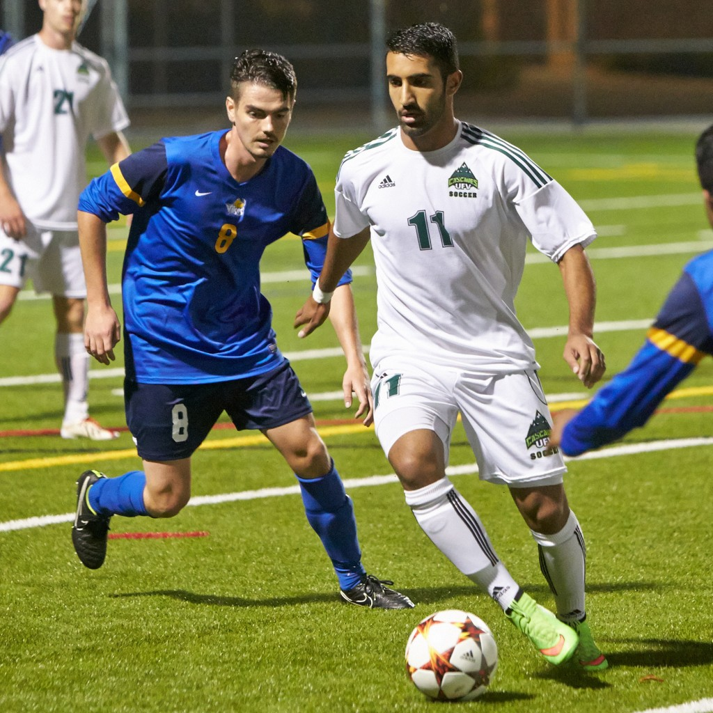 Justin Sekhon and the UFV men's soccer team opened the Canada West regular season with a 2-0 road win over UBCO. (Tree Frog Imaging file photo)