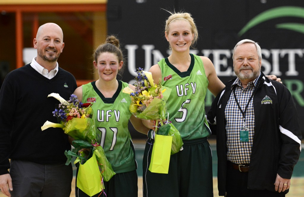 Sarah Wierks and fellow fifth-year player Celeste Dyck were honoured on women's basketball Senior Night in February.