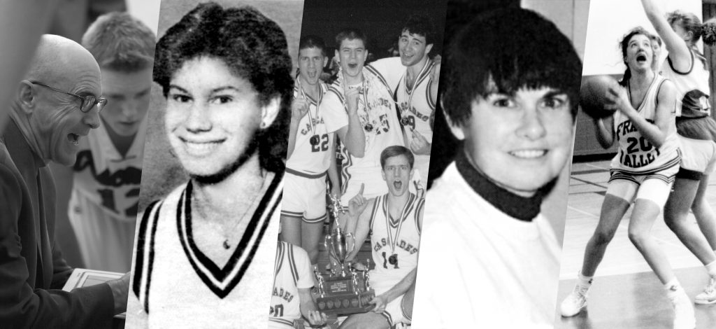 Pat Lee, Carolyne Lucy, the 1987-88 men's basketball team, Jane Antil, and Tracy MacLeod (from left) will be celebrated on Jan. 6 as inaugural members of the Cascades Hall of Fame.