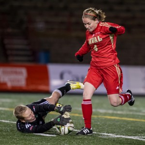 UFV keeper Kayla Klim stymies Laval's Lea Chastenay-Joseph on a second-half breakaway. - photos by Stephane Gaudreau