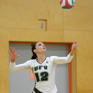 Cascades middle Emily Carroll was a huge presence with her blocking vs. VIU on Friday.