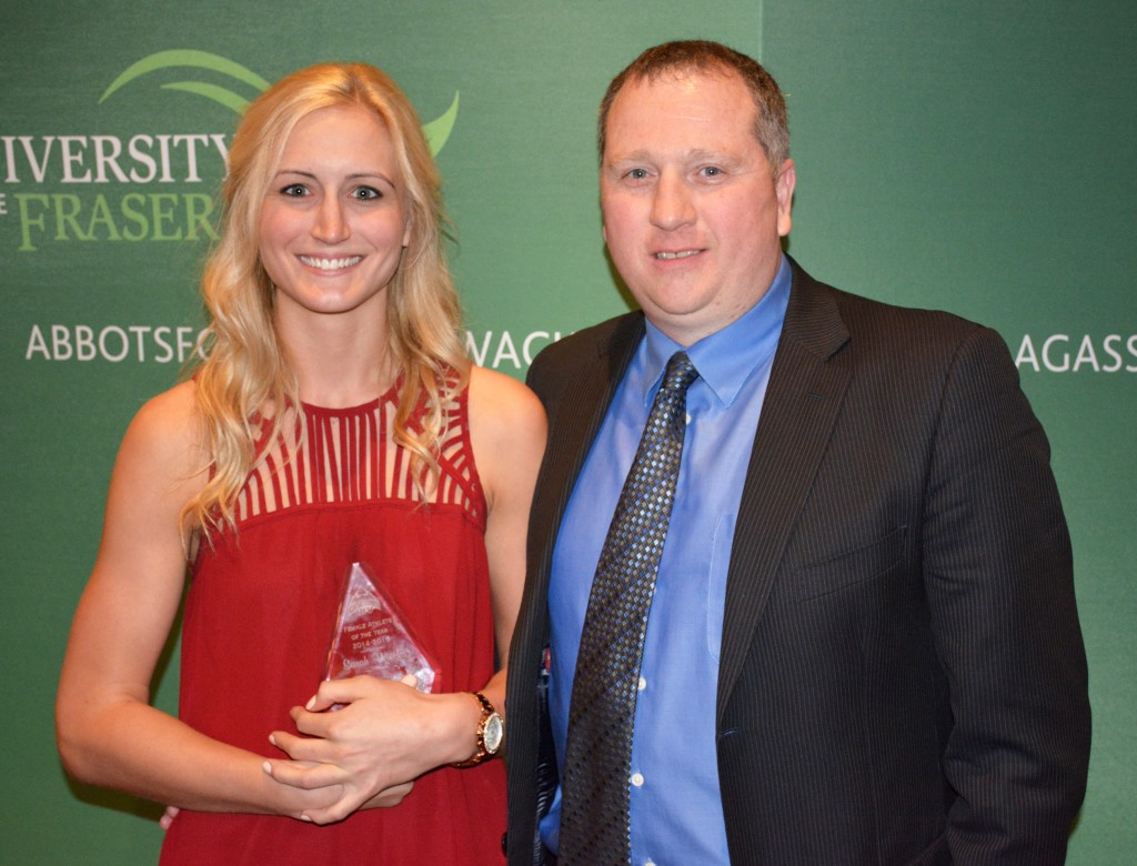 Cascades 2014-15 female athlete of the year Sarah Wierks and women's basketball coach Al Tuchscherer.