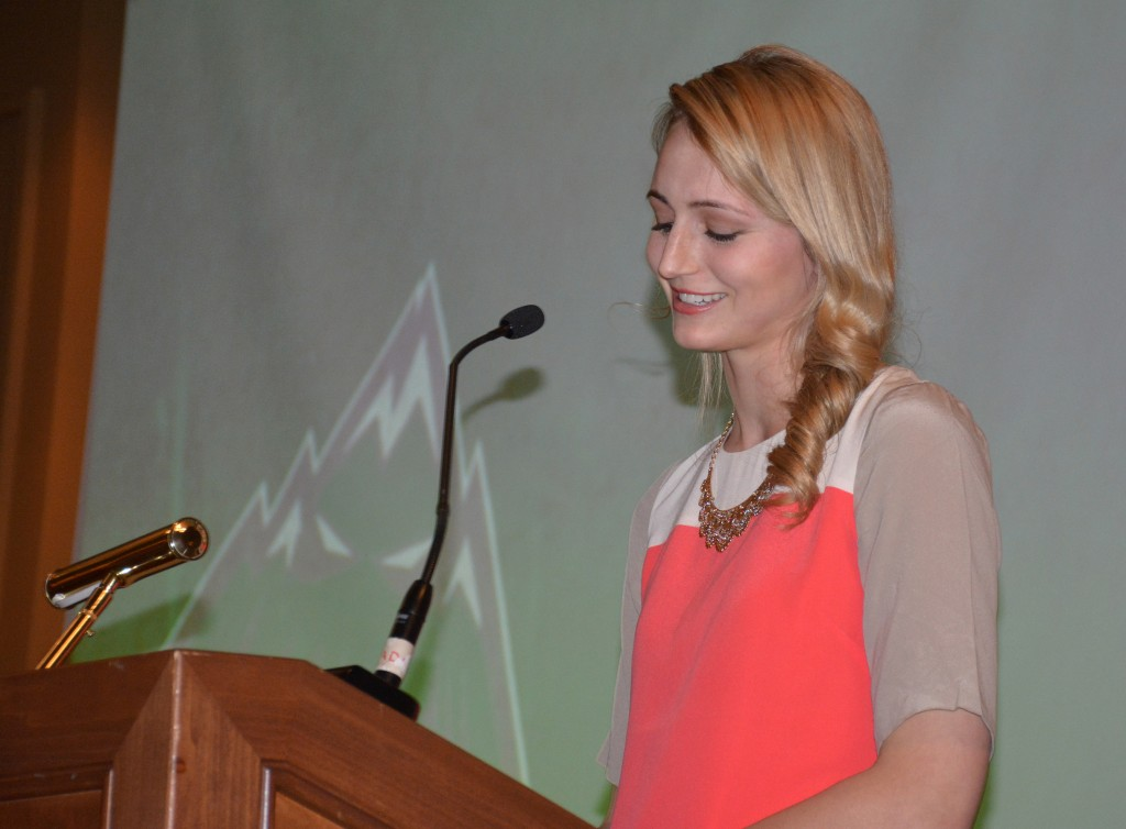 Nicole Wierks delivered a speech on behalf of the alumni at the recent Cascades awards banquet.