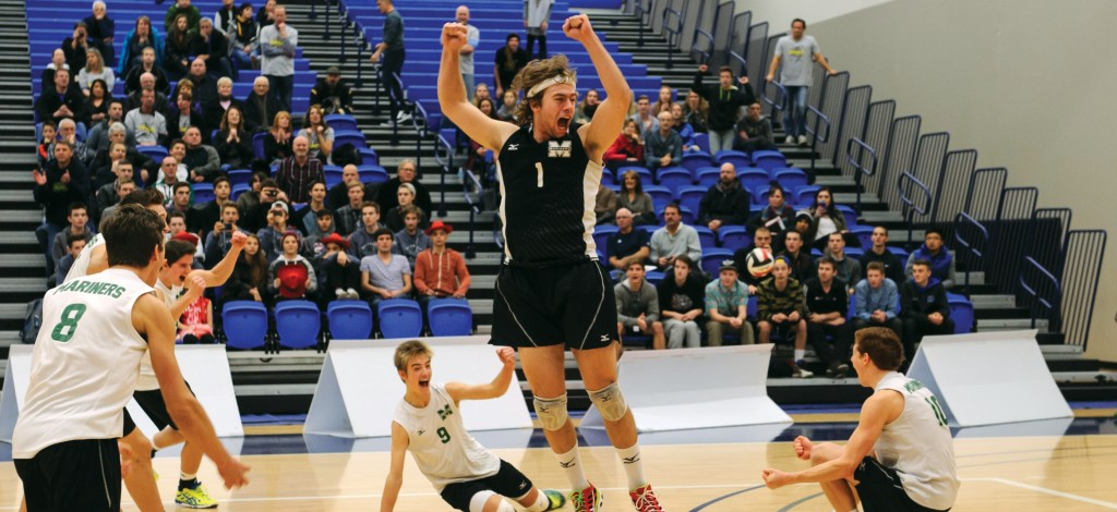 Evan Bell-Foley (centre), who helped the Earl Marriott Mariners win back-to-back B.C. AAA high school championships, is part of the UFV men's volleyball program's 2015 recruiting class.