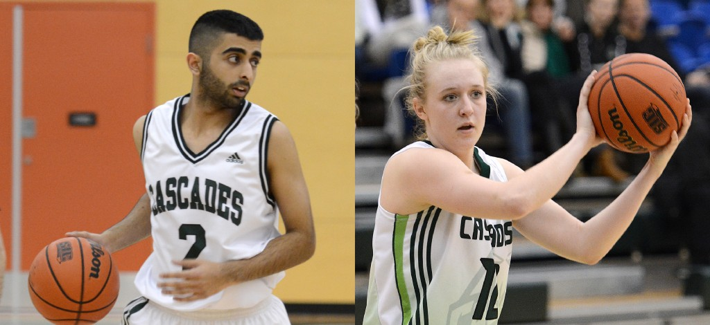 Manny Dulay (left), Katie Brink and the Cascades basketball teams will spend one more season in the Explorer Division before Canada West realigns to a single 17-team division in 2016-17.