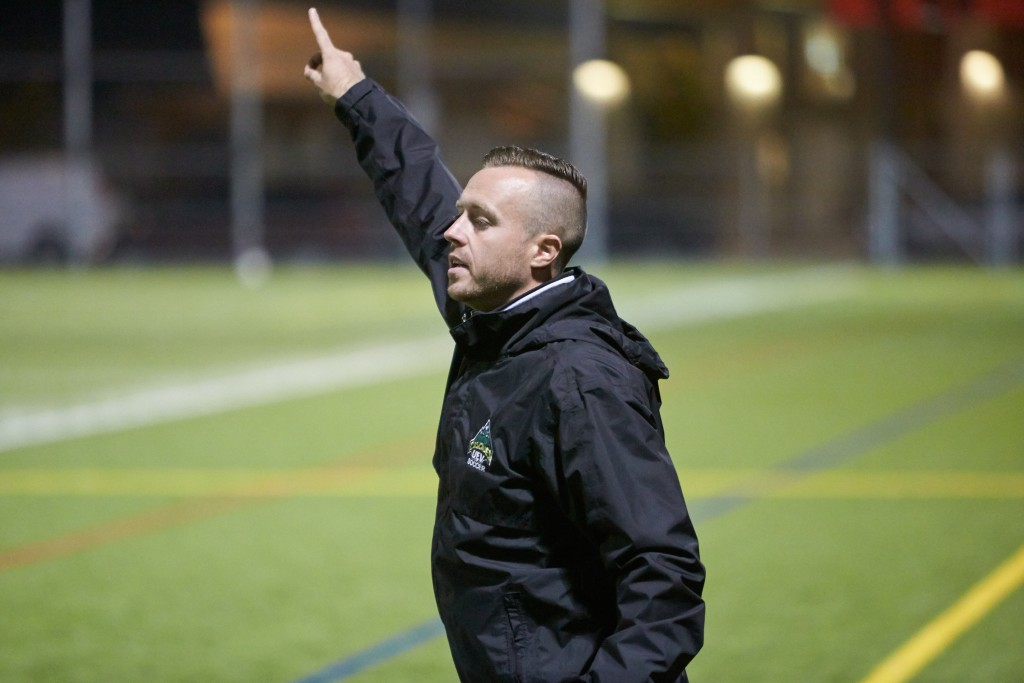 Tom Lowndes coaches his first Canada West regular season game as Cascades head coach on Saturday. (Tree Frog Imaging photo)