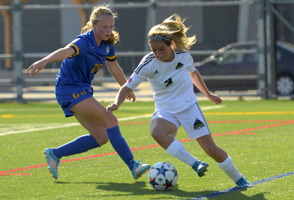 UFV's Danica Kump looks to elude a UVic defender on Friday.