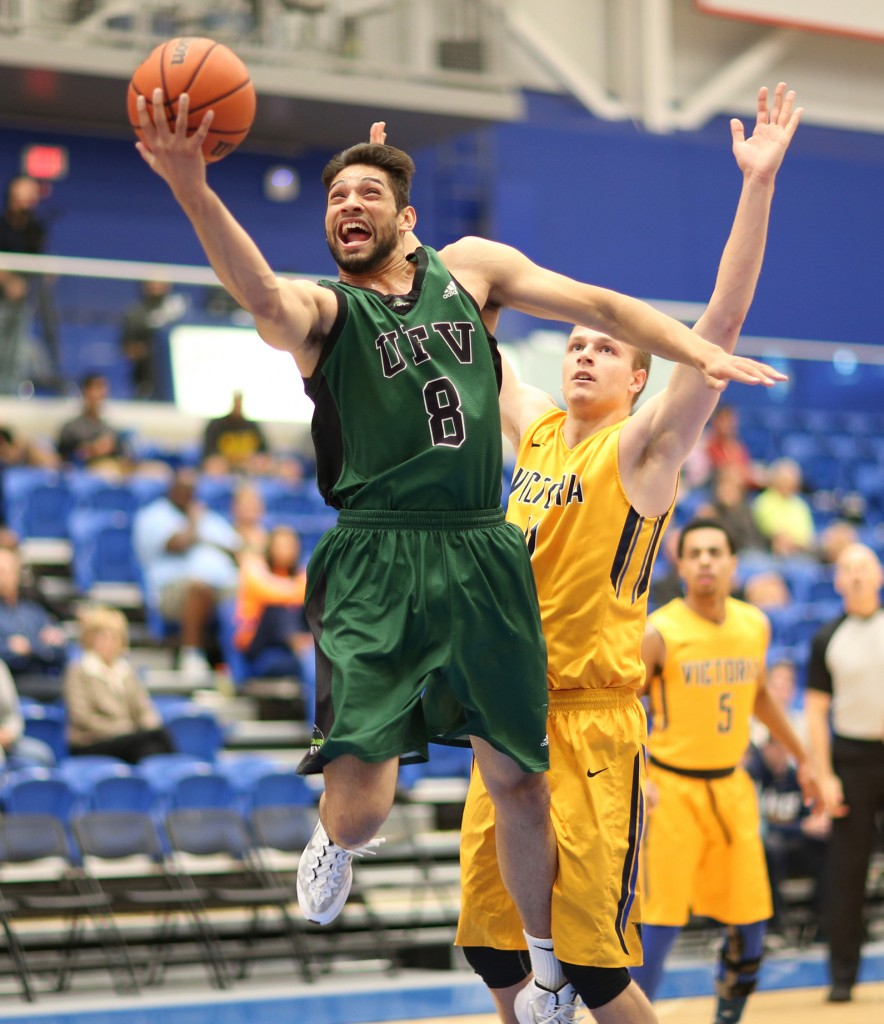 Nav Bains notched eight points and seven rebounds vs. UVic on Sunday. (apshutter.com photo)