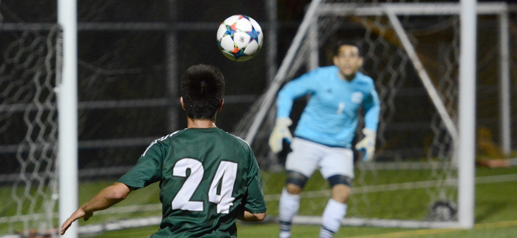 Kree Byrne (foreground) and the Cascades men's soccer team face the UVic Vikes and the UBC Thunderbirds this weekend.