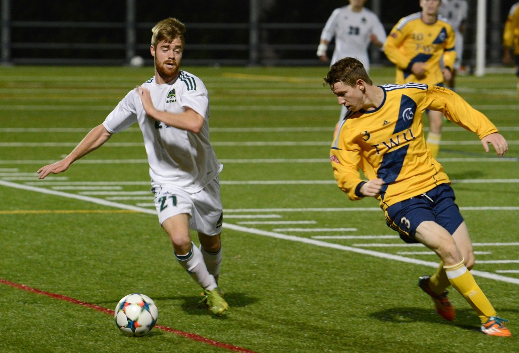 Cascades forward James Najman (left) had a productive performance on Friday with a pair of assists.