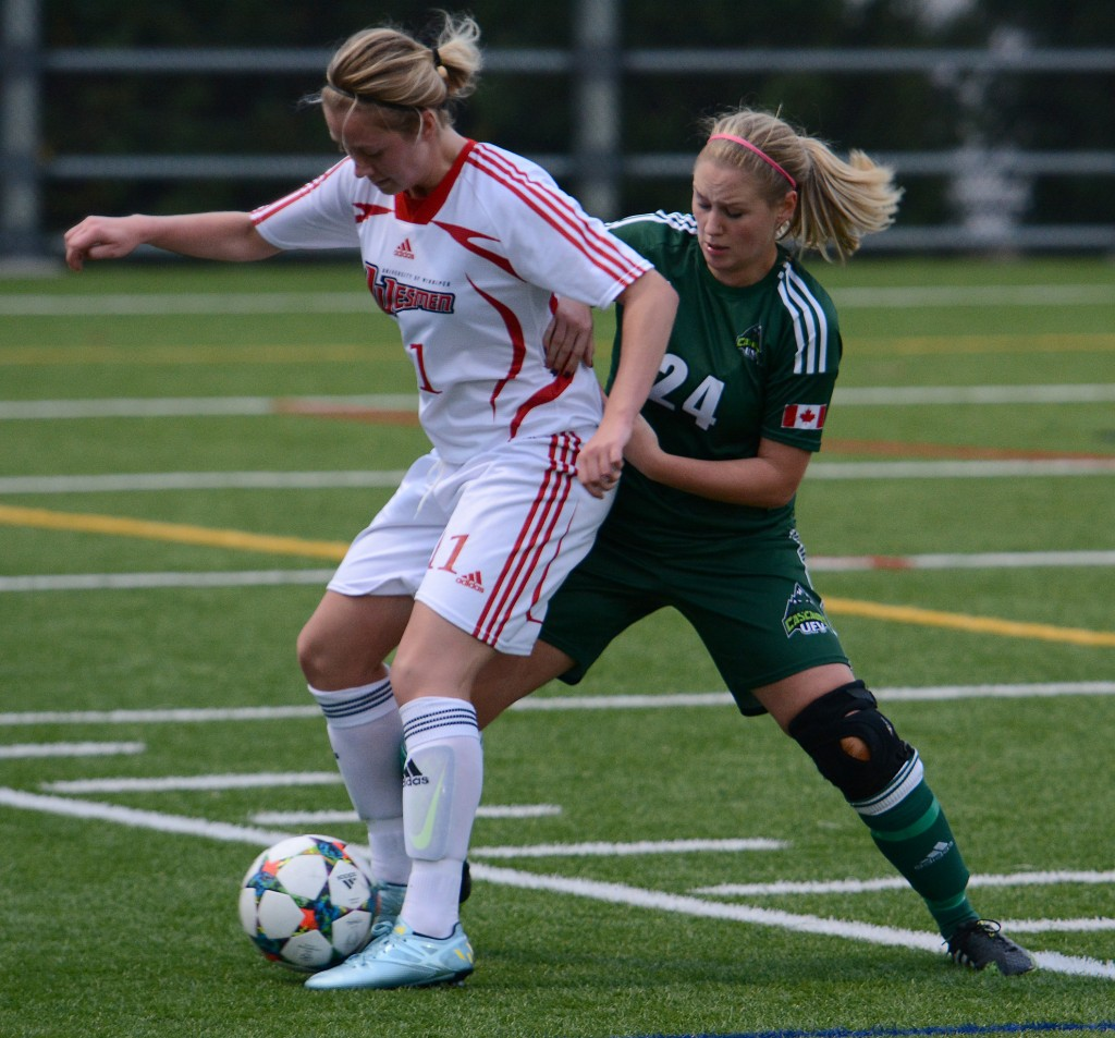 Cascades defender Dayle Jeras was one of three fifth-year seniors playing their last regular season home game.