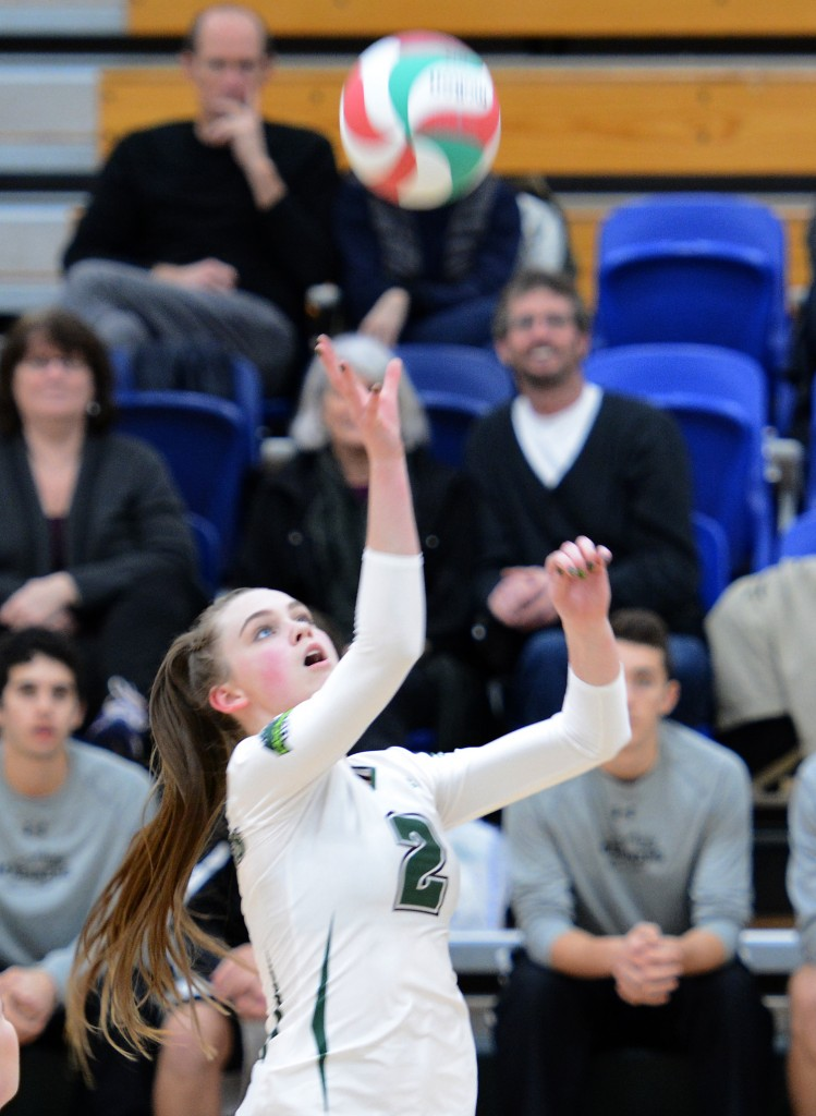 Chelsea Kidd of the Cascades goes up to tip the ball over the net during Friday's home game vs. VIU.