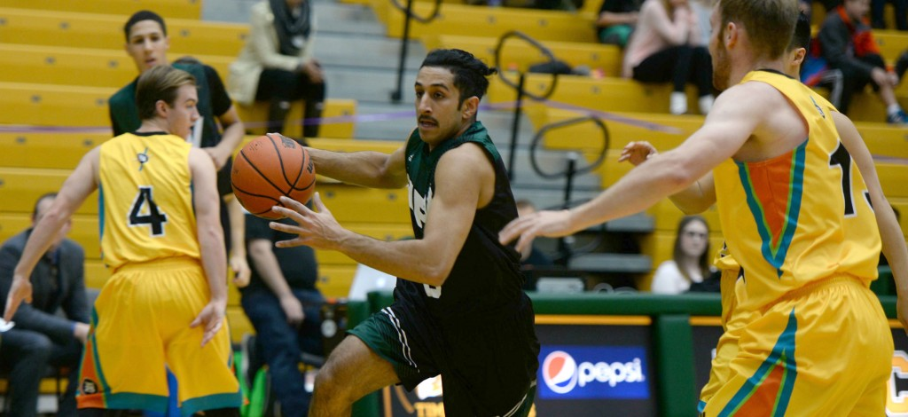 Vijay Dhillon scored 16 points on Friday evening, but the Cascades fell to the UNBC Timberwolves. (photos courtesy UNBC Communications)