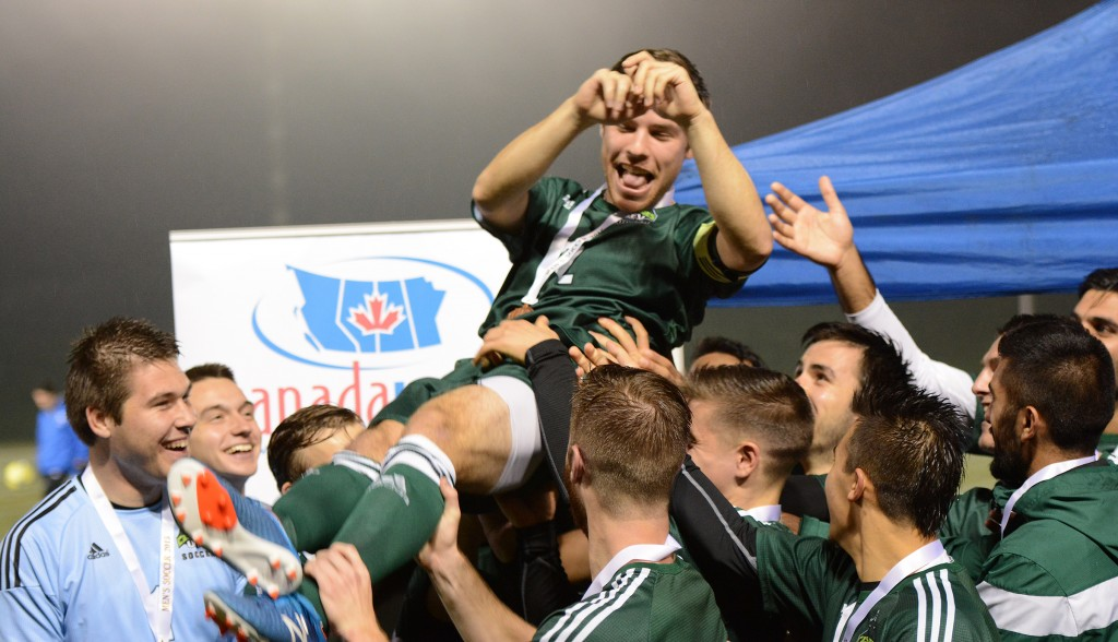 Cascades captain Colton O'Neill was hoisted on the shoulders of his teammates after Saturday's win in the Canada West bronze medal game.