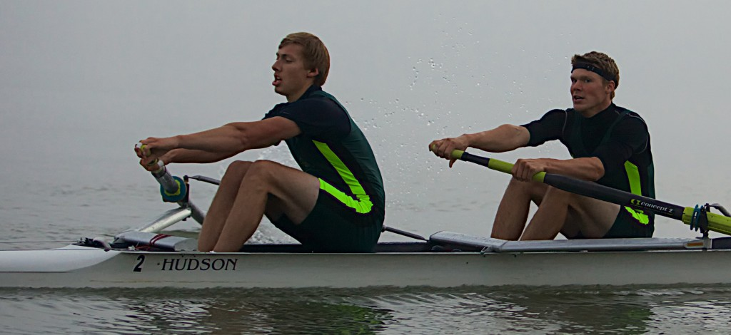 UFV rowers Kyle Krahn (left) and Stephen Wall finished second in the men's pair B final at the Canadian University Rowing Championships in Nova Scotia.