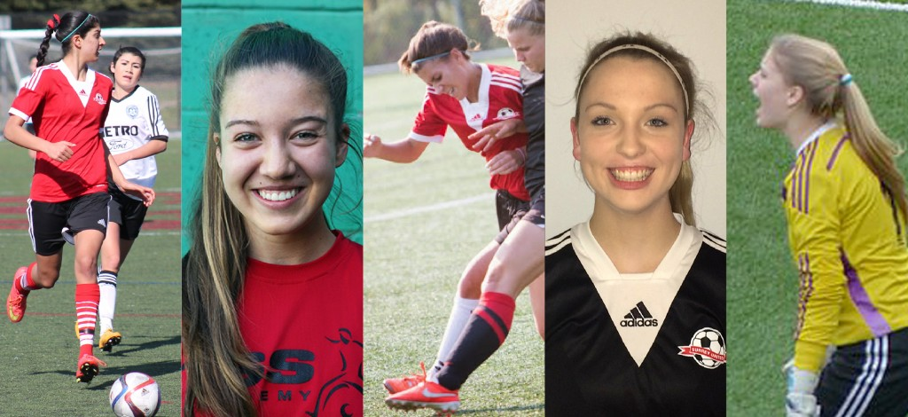 The Cascades women's soccer team has signed (from left) Simi Lehal, Brooke Walton, Kelsey Mitchell, Marianne Spring and Brooke Molby. The quintet will suit up for the Cascades in the fall of 2016.