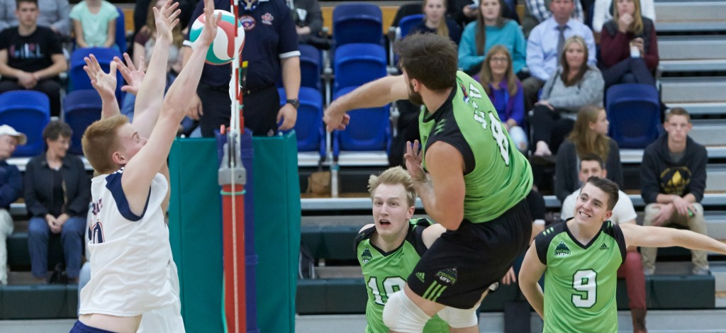 Fifth-year outside hitter Adam Chaplin (airborne) and the rest of the Cascades are excited to take on the No. 1-ranked team in the nation this weekend.