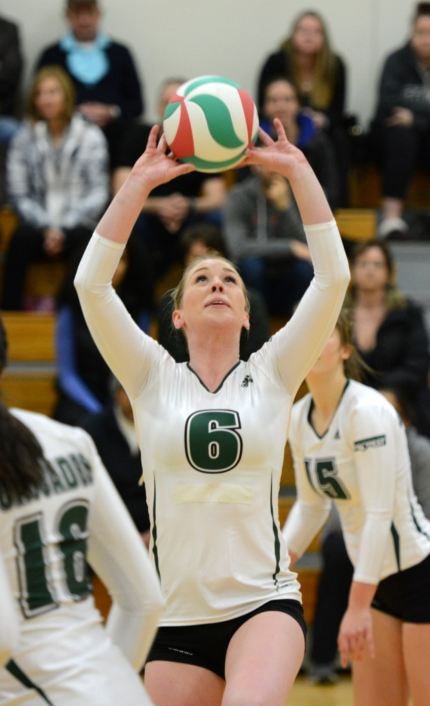 Setter Nicole Blandford kept her hitters well-fed on Sunday afternoon vs. COTR.