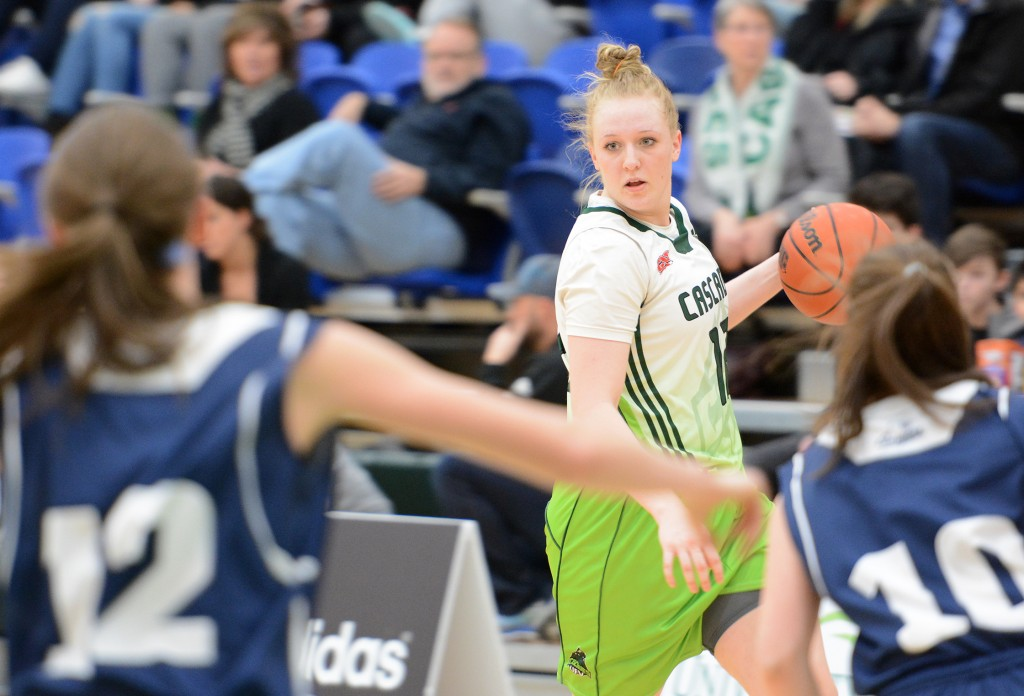 Katie Brink returned to the lineup for the Cascades and contributed 13 points and seven rebounds in a win over the Mount Royal Cougars.