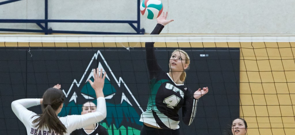 Monique Huber paced the Cascades in hitting percentage, but Capilano prevailed in four sets. (Tree Frog Imaging file photo)