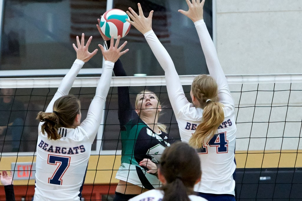 Monique Huber and the Cascades women's volleyball team clash with the Douglas Royals in their PacWest playoff opener. (Tree Frog Imaging photo)