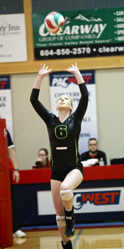 Setter Nicole Blandford excelled in the final game of her five-year Cascades career.