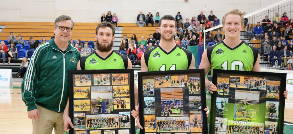 Cascades fifth-year players Adam Chaplin, Robert Bauerfind and Connor Nickel were honoured in a pregame Senior Night ceremony with UFV athletic director Steve Tuckwood.
