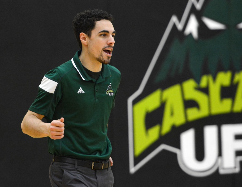 Head coach Kyle Donen and the Cascades celebrated a victory over Capilano on Friday.