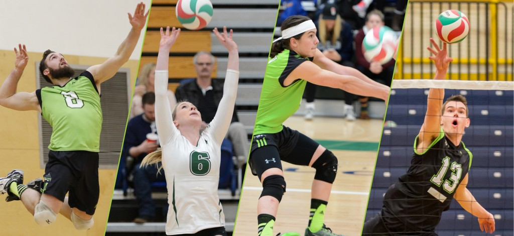 Adam Chaplin, Nicole Blandford, Isaiah Dahl and Joel Kleingeltink (from left) of the Cascades were named PacWest volleyball all-stars on Wednesday.