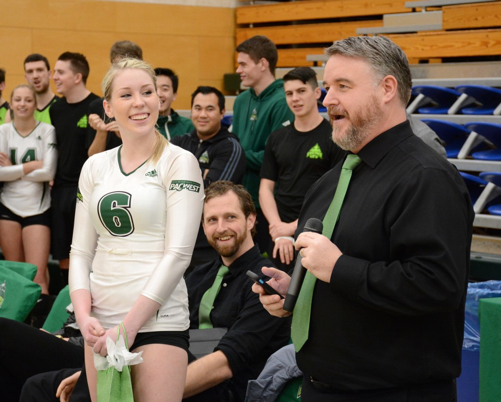Head coach Mike Gilray spoke about Nicole Blandford during Senior Night ceremonies.
