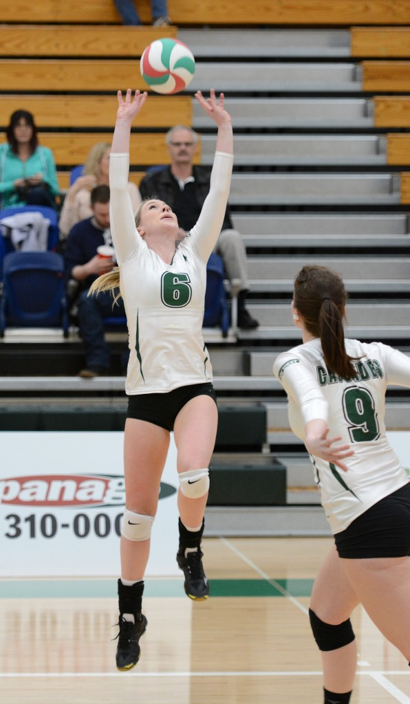 Setter Nicole Blandford played her final game at the Envision Athletic Centre on Friday.