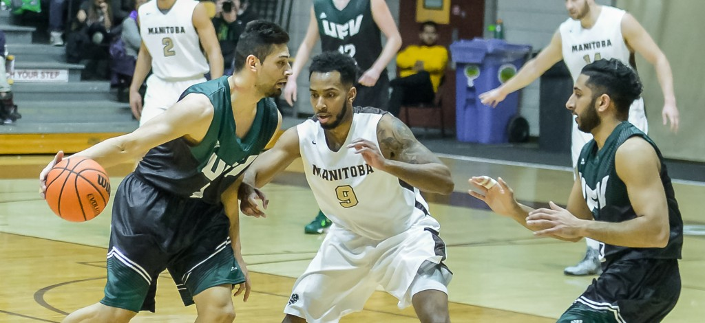 Nav Bains of the Cascades looks to get the ball to teammate Vijay Dhillon during Thursday's playoff opener vs. Manitoba. (Photos courtesy Tara Miller / Bison Sports)