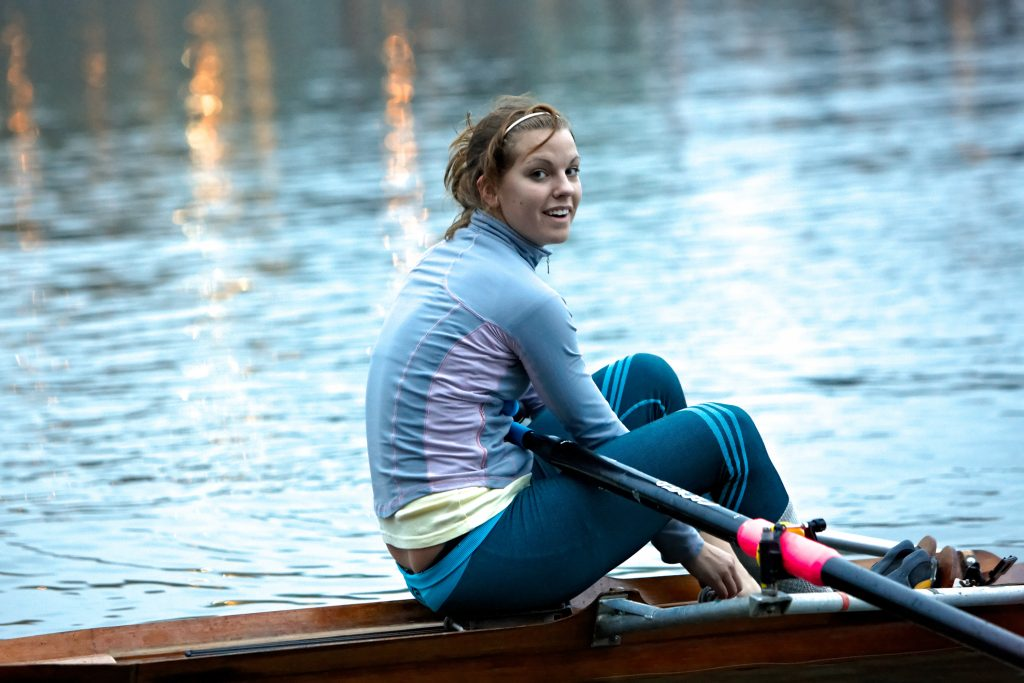 Lisa Roman takes a break during a UFV Cascades rowing practice during the 2008-09 season. (UFV Cascades file photo)