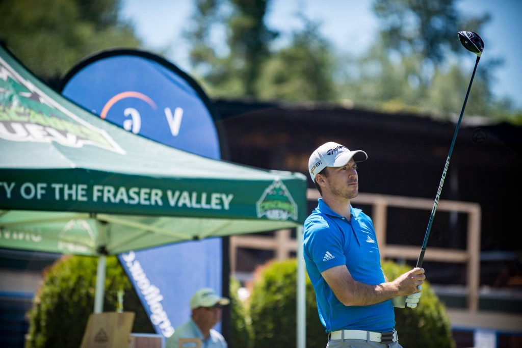 Nick Taylor readies himself at the first tee at Ledgeview on Friday. (Darren McDonald /UFV photo)