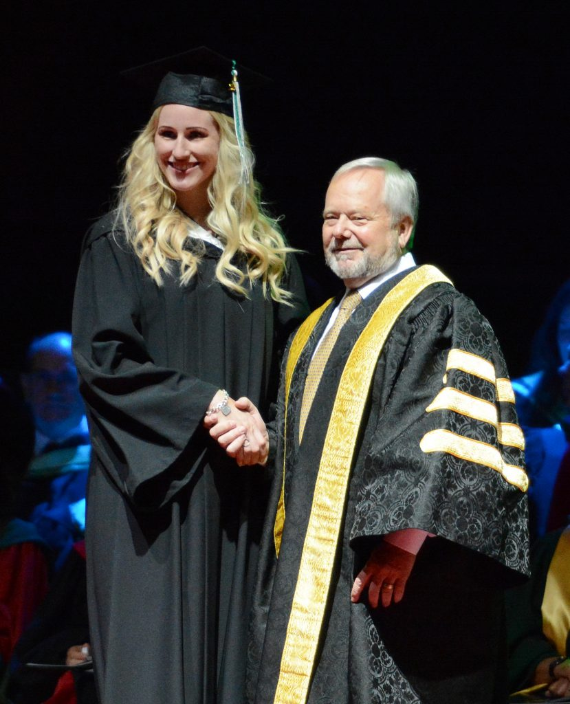 Women's volleyball alum Katie Peacock received her Bachelor of Kinesiology degree.