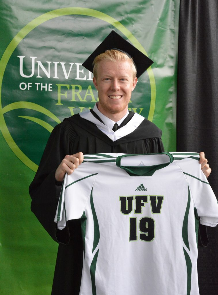 Ryan Liddiard came prepared for convocation photos - he brought one of his old Cascades men's soccer jerseys.