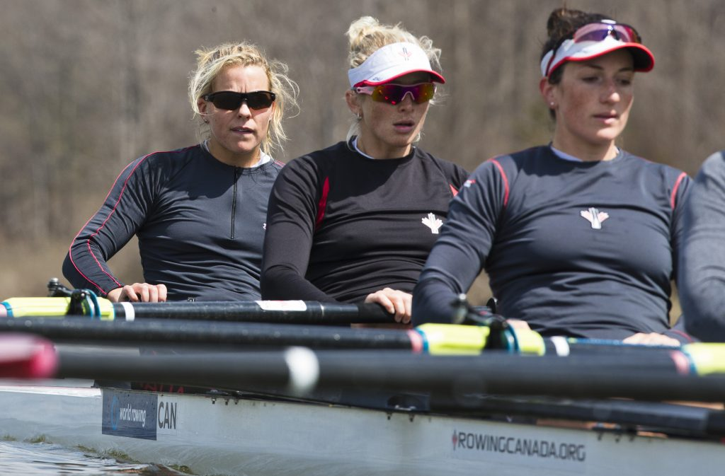 Lisa Roman (left) trains with members of the 2016 Canadian Olympic women's eight team at Lake Fanshawe in London, Ont. earlier this year. (Kevin Light / Rowing Canada photo)