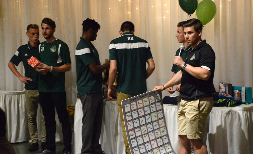 Cascades men's soccer alum Trevor O'Neill (right) was the master of ceremonies at the UFV men's soccer fundraising dinner on Saturday.