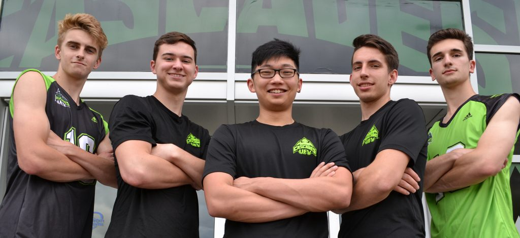Graeme Hughes, Carter Bronson, Ian Lim, Josh Fefchak and Luc De Gianni - all 2016 graduates of Fraser Valley high schools - are set to join the UFV men's volleyball team next season. The sixth member of the Cascades' recruiting class is Matt Whittall (not pictured).