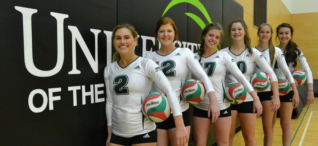 The UFV women's volleyball recruiting class for 2016 includes (from left) Shaylene Reimer, Kim Bauder, Jessica Funk, Cassidy Pearson, Hannah Hieltjes and Amanda Matsui. Not pictured is Teagan Johnstone.