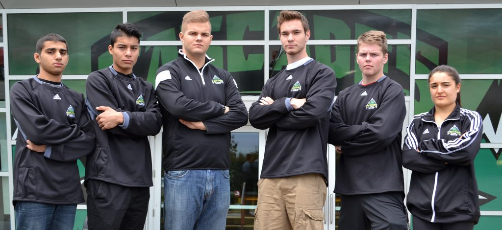 The Cascades wrestling program's 2016 recruiting class includes (from left) Husayn Mohammad, Hassib Javeed, Kamil Golowko, Alex Johnson, Marko Kolobara and Karla Godinez Gonzalez.