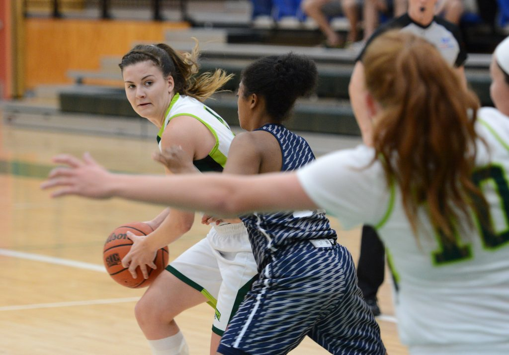 Cascades point guard Kate Head looks to thread a pass into the post to Taylor Claggett during Friday's exhibition tilt with Florida Atlantic.