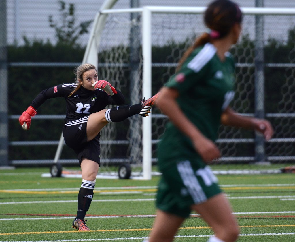 Emily Harold handled the goalkeeping chores for the Cascades in the first half against St. Martin's on Thursday.