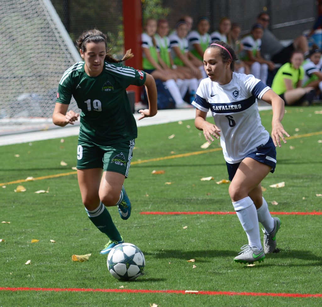 Brittney Zacharuk (left) and the Cascades women's soccer team are tied for third in the Pacific Division.
