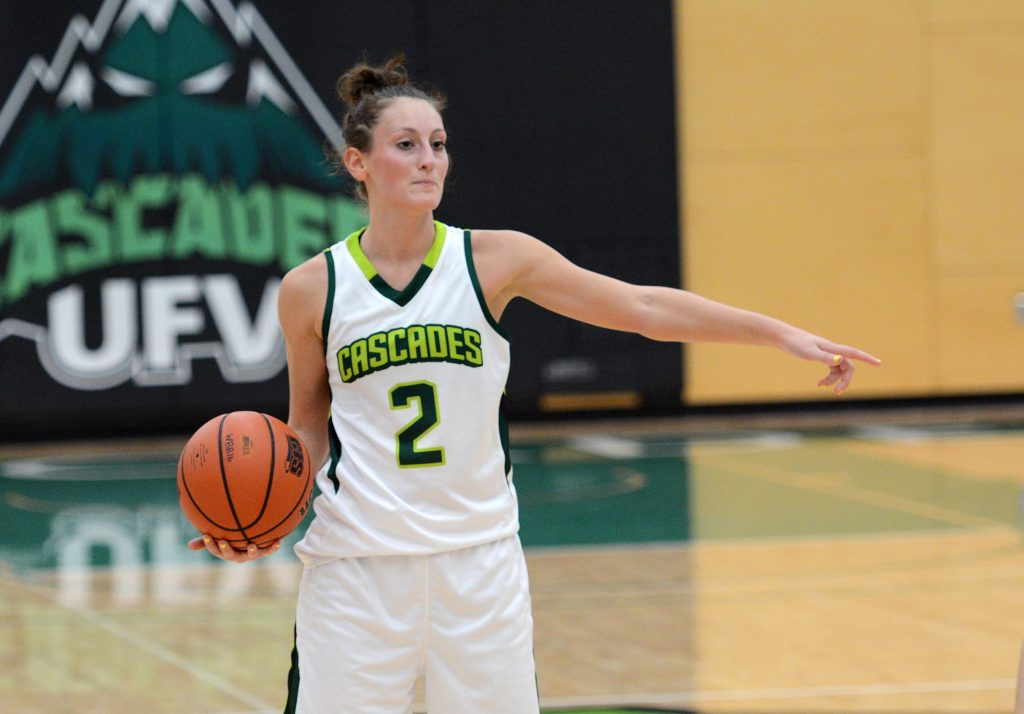 Sara Simovic directs traffic during the Cascades' preseason win over Langara.