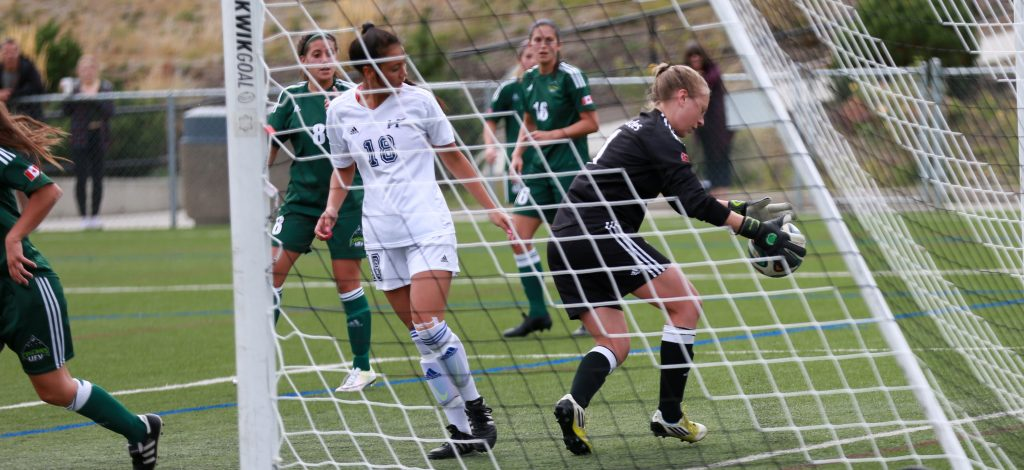 Fifth-year keeper Kayla Klim was at her sure-handed best in a 2-0 win over UBC Okanagan on Saturday. (Photo courtesy Cary Mellon / UBC Okanagan Athletics)