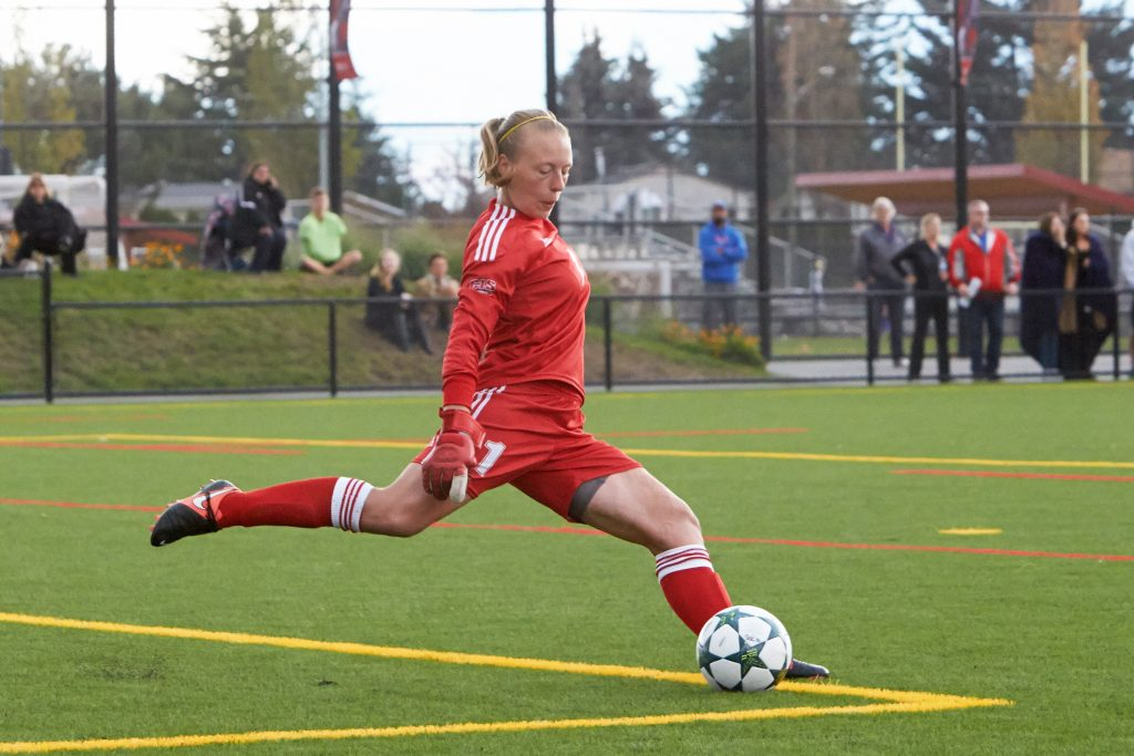 Keeper Kayla Klim is among four fifth-year Cascades women's soccer players who will be honoured on Saturday.