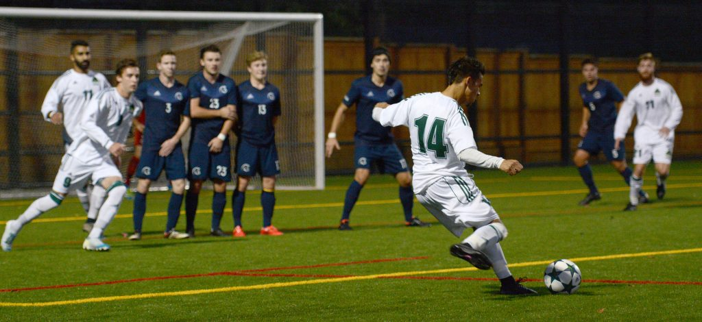 Connor MacMillan (14) and the Cascades men's soccer team are looking to secure a playoff berth this weekend.