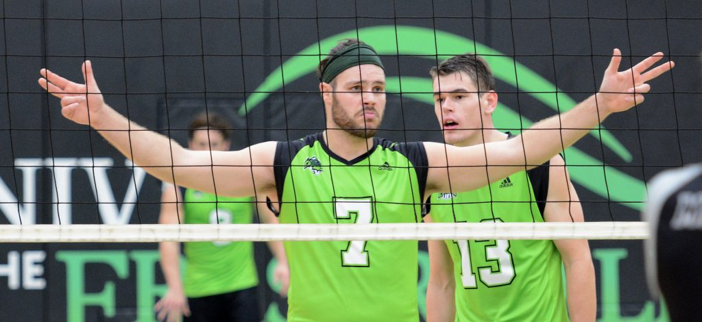 Dayton Pagliericci (7) and Joel Kleingeltink (13) are seasoned veterans on this year's edition of the Cascades men's volleyball team.