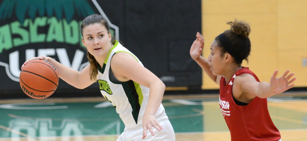 Kate Head and the Cascades women's hoopsters face UBC away and Capilano at home in exhibition action.